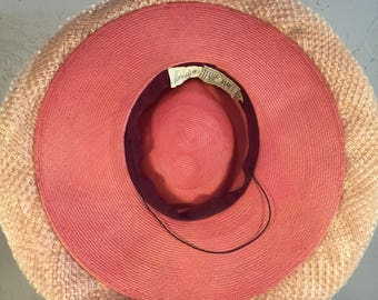 Shading the Florida Sun - Vintage 1940s Leslie James Coral Pink Straw Wide Brim Hat