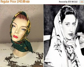 Anniversary Sale 35% Off Blocked In Sunshine - Vintage 1940s 1950s Large Green Equestrian Jeweled Handrolled Square Silk Scarf
