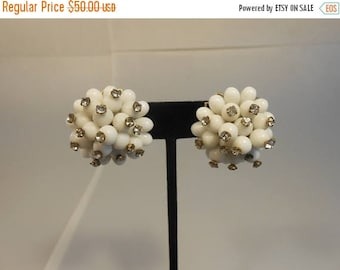 Anniversary Sale 35% Off The Milky Way Aglow  - Vintage 1960s White Milk Glass w/Rhinestone Screw Back Earrings