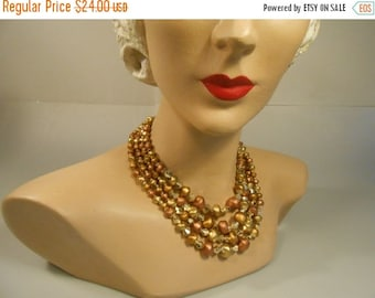 Anniversary Sale 35% Off Down in the Mining Pit - Vintage 1950s Tonal Metallic Gold Bronze Copper Lucite Bead 4 Strand Necklace