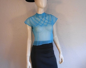 Anniversary Sale 35% Off Touring La Cote d'Azur - Vintage Late 40s Early 50s Turquoise Sheer Nylon Lattice Blouse - 34