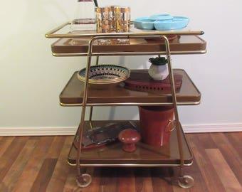 Bar Cart, Kitchen Cart, Serving Cart, Tea Cart, Trolley, Cosco Kitsch Mid Century Rolling Cart