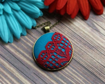 Red And Turquoise Jewelry, Blue Boho Necklace With Lace And Fabric, Large Pendant, Eclectic, Colorful