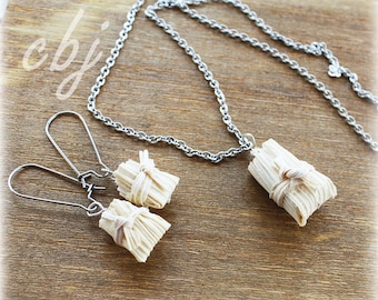 Tamale Earrings, Tamale Necklace, Tamale Jewelry SET Necklace and Earrings, Polymer Clay Tamale Jewelry, Handmade, Stainless Steel