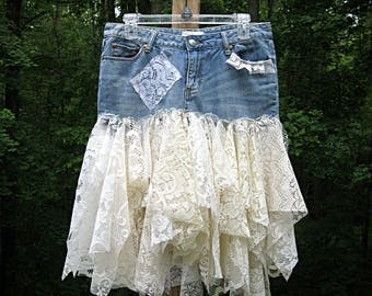 Festival Clothing Women's Gypsy Skirt Upcycled Clothes Lace Bohemian Hippie Skirt Altered Denim Skirt Boho Skirt Size 6-8, Lily Whitepad