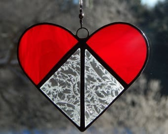 Stained Glass Heart Suncatcher II Red/Clear Textured
