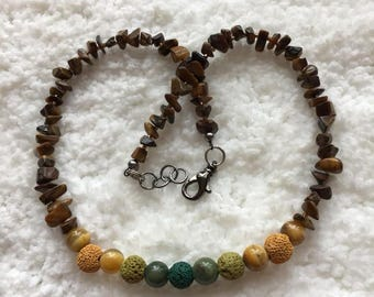 Essential Oil Diffuser Necklace - Lava and Gemstone