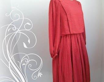 ON SALE Red Stripes Secretary Dress