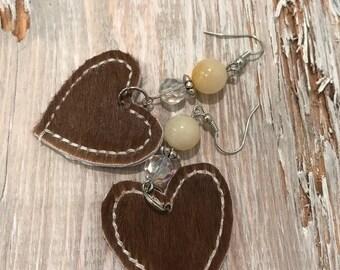 Hair on hide, heart dangling earrings, western glam, cowgirl earrings , leather earrings , crystal beads