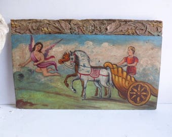 Vintage Painting on Carved Wood panel Angel Horses Chariot Architectural church salvage Italy Old World religious art