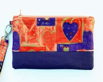 iPhone Android Samsung Galaxy Smartphone Wristlet Be Mine for Valentine Orange Purple Pouch Hearts