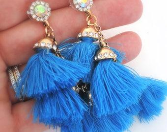 Vintage Inspired - Tassel Earrings - Statement Earrings - Blue Earrings - Stud Earrings - Boho Earring - Crystal Earrings - handmade jewelry