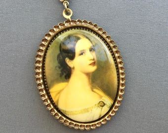 Victorian Necklace - Cameo Necklace - Victorian Jewelry - Porcelain Necklace - Cameo Pendant - Romantic Jewelry - Vintage Style Jewelry
