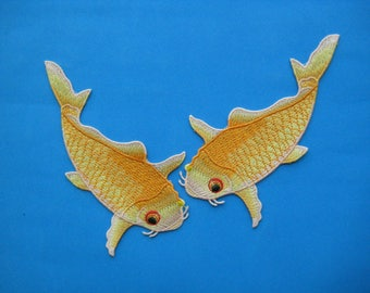 2 pcs Sew-on embroidered Patch Pair of Koi Fish (golden yellow) 5.75 inch
