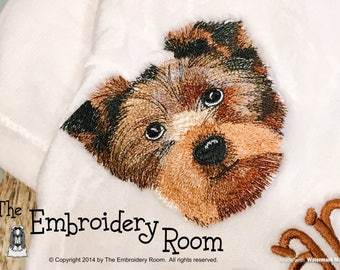 Yorkie-Floppy Ears-Embroidered Dog Blanket
