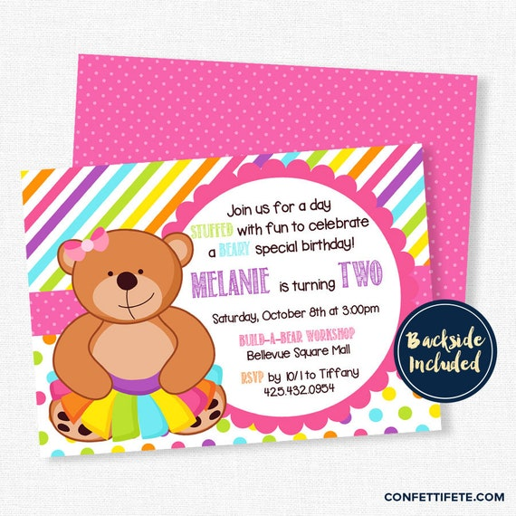 Teddy Bear Birthday Invitation Bear in a Tutu Invitation Girl