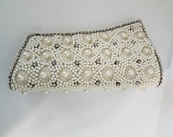 Vintage Pearl and  rhinestone lutch