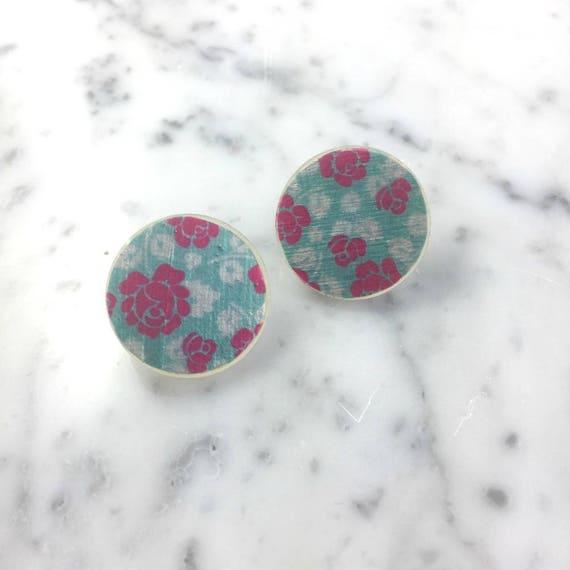 Resin earrings, pink flower, rose, blue, acrylic handmade paint, stud, unique, handmade, sold, earring, hypoallergenic hook