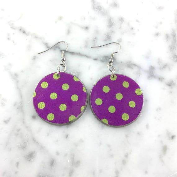 Resin earrings, light green dots, purple, pattern, summer, earring, hypoallergenic hook