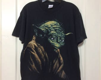 1990's Star Wars movie Yoda Jedi Master character black T-shirt size Large 20x26 oversized fit martian alien space the Empire Strikes Back