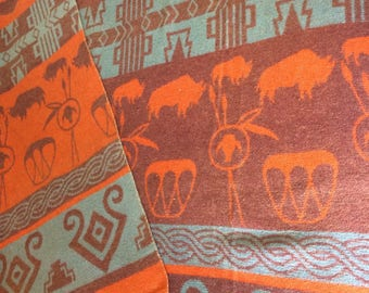 1950's soft cotton blend Camp Blanket 60x60 inch Orange Brown Blue Navajo Indian Native American Southwest Buffalo Drum patterned throw