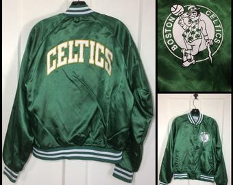1980's Chalk Line jacket size medium Boston Celtics old logo basketball NBA pro sports team satin bomber made in USA printed front and back