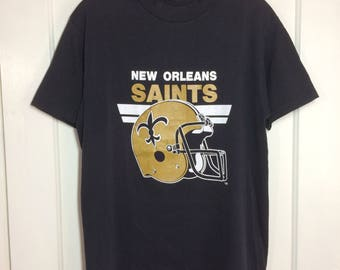 1980's New Orleans Saints NFL football team sports t-shirt size large 18x27 Trench made in USA black gold