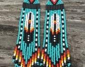 "Native American style 4"" feather Beaded Earrings ORIGINAL DESIGNER"