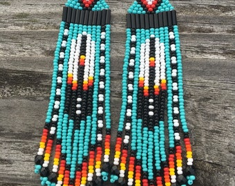 "Native American style 4"" feather Beaded Earrings ORIGINAL DESIGNER"