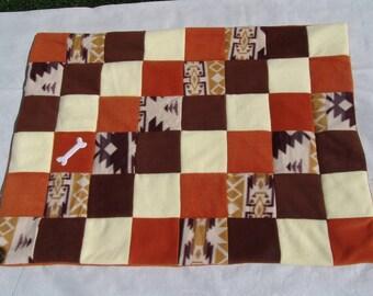 Medium fleece dog blanket - southwest print