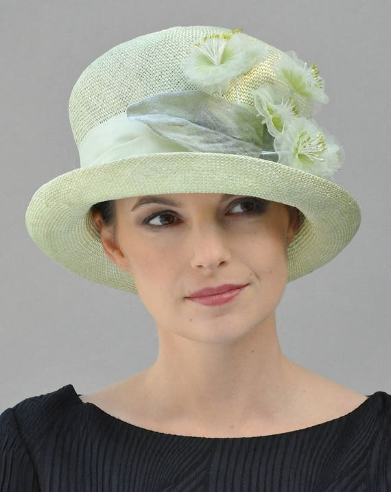 Wedding Hat, Ladies Formal Summer Hat, Cloche, Kentucky Derby Hat, Mint Green hat, Dressy Hat, Church Hat, Tea Party Hat, Occasion Event Hat
