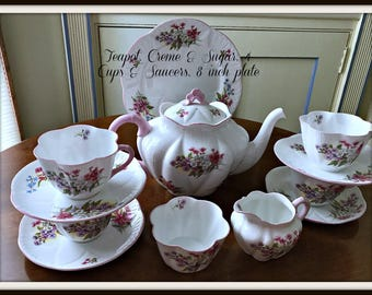 Shelley Dainty Stocks Tea Service Teapot, 4 Cups & Saucers Cream, Sugar, 8 inch Plate -Shelley China -  Wedding China - British China 1950s