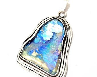 Summer Sale 925 Silver Rare Hand Made Ancient Roman Glass Pendant Necklace