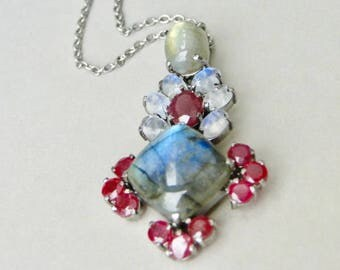 Jewelry /Gemstone Necklace / Women's Jewelry / Labradorite Opal Necklace / Sapphire and Ruby Necklace / Anniversary Gift / Vintage Jewelry