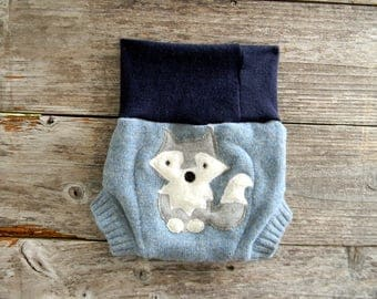 Upcycled Wool Soaker Cover Diaper Cover With Added Doubler Blue With Wolf Applique SMALL 3-6M