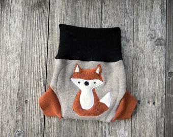 Upcycled  Merino Wool Soaker Cover Diaper Cover With Added Doubler Black/ Beige/Orange With Fox Applique SMALL 3- 6M Kidsgogreen