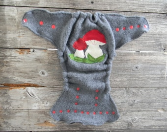 Upcycled Wool Nappy Cover Diaper Cover Wool Wrap Cloth Diaper Cover One Size Fits Most Gray With Mushrooms Applique / Charcoal Gray