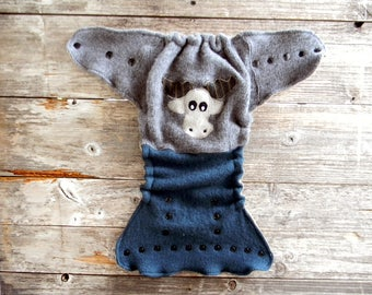 Upcycled Wool Nappy Cover Diaper Cover Wool Wrap Cloth Diaper Cover One Size Fits Most Gray/ Teal  With Moose Applique / Beige