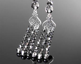 Dark Grey Earrings, Sterling Silver Earrings, Swarovski Grey Crystal Earrings, Dark Gray Dangle Drop Earrings, Crystal Tassel Earrings