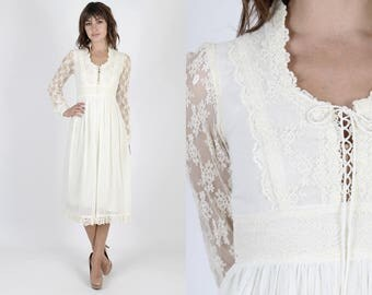 Gunne Sax Dress Prairie Dress Boho Dress Boho Wedding Dress Bohemian Dress Lace Dress Vintage 70s Ivory Sheer Floral Corset Midi Mini S