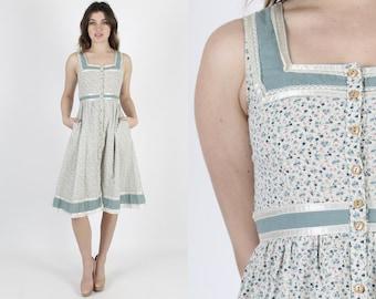 Gunne Sax Dress Calico Print Bohemian Dress Boho Dress Corset Dress Vintage 70s Ivory Blue Floral Hippie Festival Summer Mini Dress S
