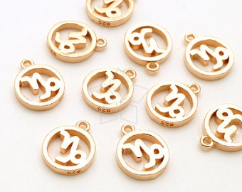 SV-269-RG / 1 Pcs - Zodiac Sign Symbol Charms, Constellation, Capricorn, December, January Birthday, Rose Gold Plated 925 Sterling Silver