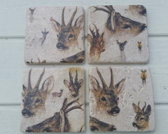 Rustic Rural Deer Coaster Set of 4 Tea Coffee Beer Coasters