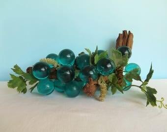 Vintage Lucite Grape Cluster on Driftwood - Acrylic Grape Floral Arrangement - Mid Century