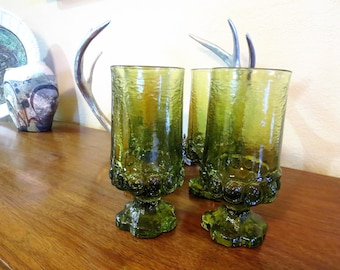 Vintage Tiffin Franciscan Madeira Tall Water/Wine Goblets - Citron Green - Avocado Green Stem Glasses - Set of 4