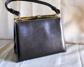 Vintage 70s Etra Square Chocolate Brown Leather Handbag purse