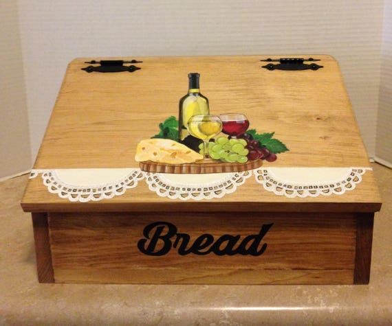 Bread Box, Hand painted Bread Box, Wine Decor, Wine Kitchen Decor, Wine theme decor, wine theme, wine lovers gift, gift for wine lovers
