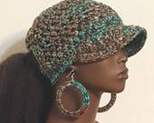 Boho Heather PonyTail Crochet Baseball Cap with Hoop Earrings  by Razonda Lee Razondalee  Made to Order