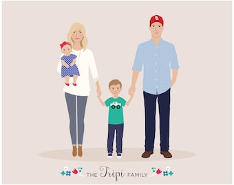 personalized portrait, Custom Family Portrait, new baby gift, family gift