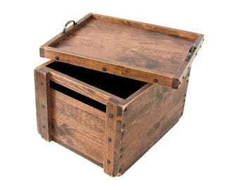 Lidded Wood Crate, Wooden Box with Lid, Keepsake Box, Hope Chest, Memory Box, Wedding Card Box, Bin, Tote, Carry-all, Engraving Available